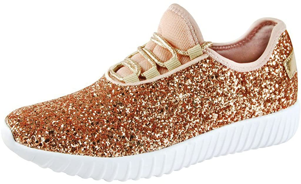 ROXY ROSE Women Fashion Jogger Sneaker - Lightweight Glitter Quilted Lace Up Shoes & Elastic Tongue (7.5 B(M) US, Rose Gold 1)
