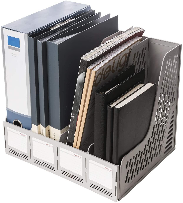 Deli Magazine File Book Holder Desktop Organizer Vertical Document Folder for Office Organization, 4 Compartments, White