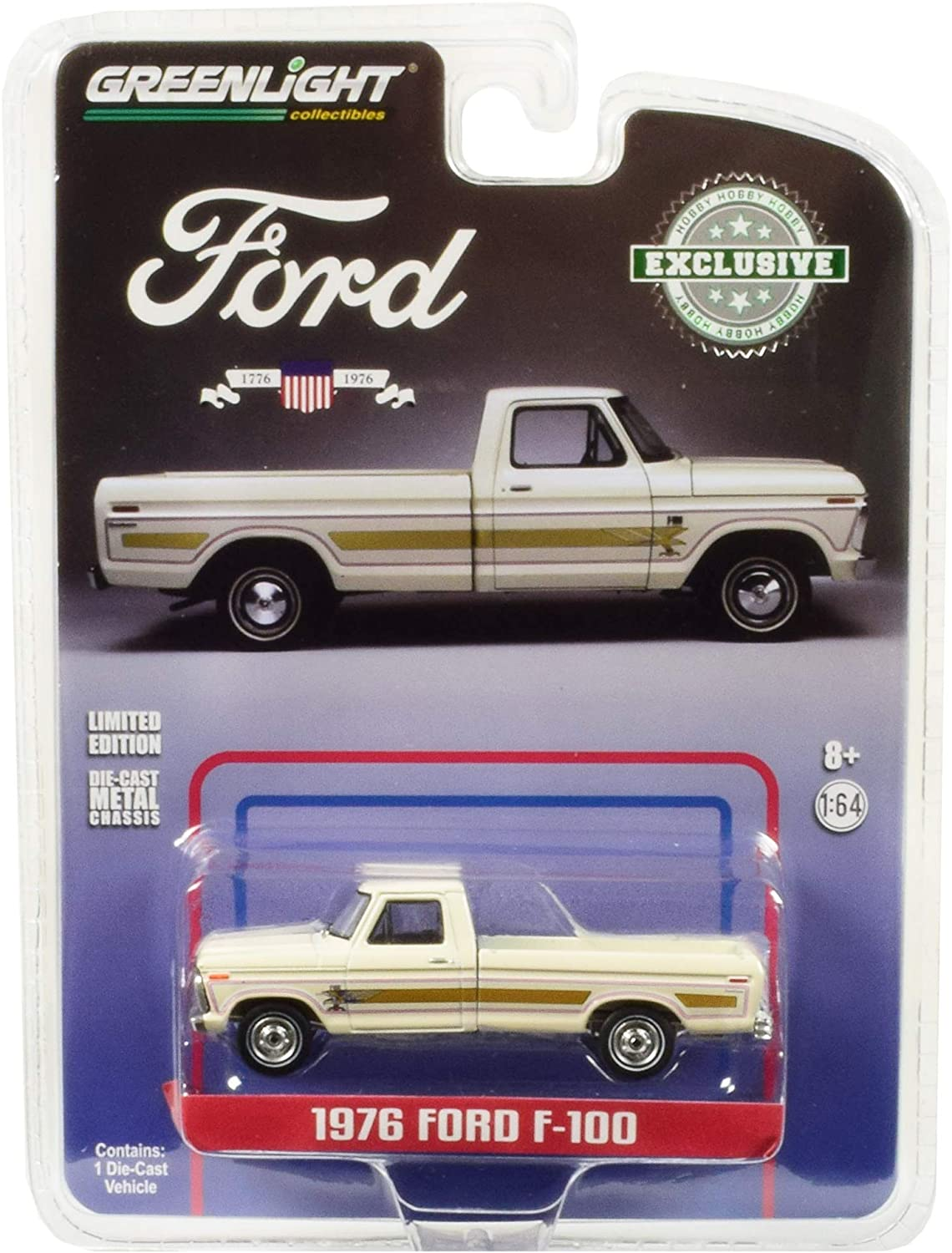 Greenlight 29965 1976 Ford F-100 Pickup Truck Bicentennial Wimbledon White Hobby Exclusive 1/64 Diecast Model Car, Multicolor