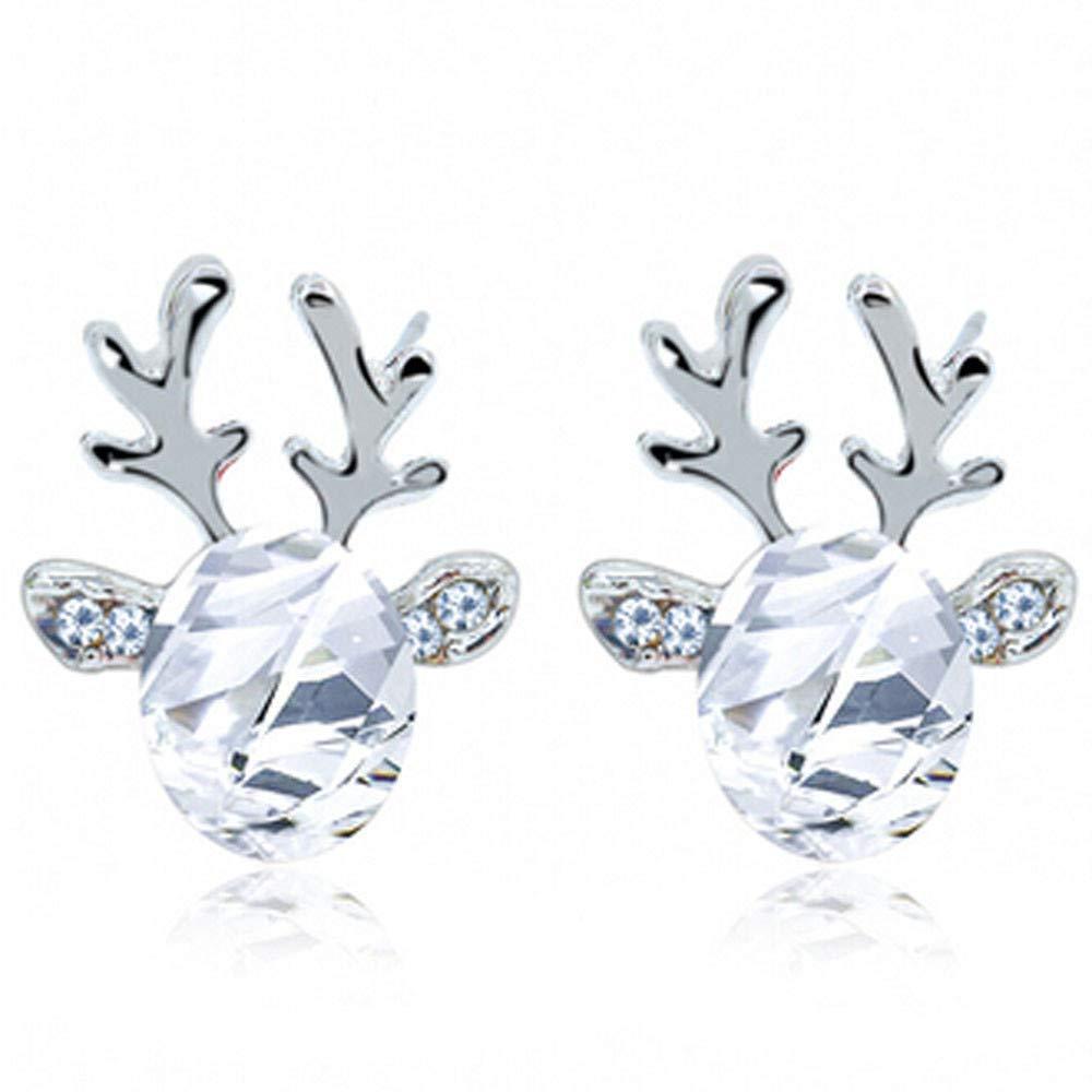 Mebamook Crystal Antlers Earring Christmas Reindeer Antlers Earing Gemstone Earrings Fashionable Xmas Gift for Women Elegant Bohemian Earrings,(Silver) White