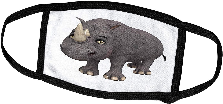 3dRose Boehm Graphics Cartoon - A Rhino Cartoon Character - Face Covers (fc_164111_3)