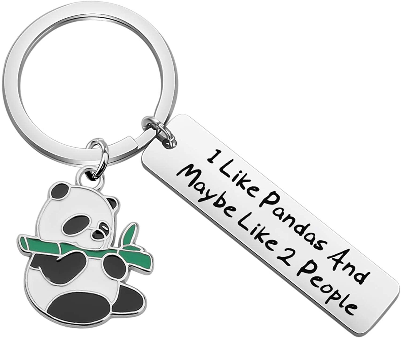 UJIMS Panda Lovers Gifts Panda Bear Charm Keychain I Like Pandas and Maybe Like 2 People Encouragement Panda Jewelry for Family BFF