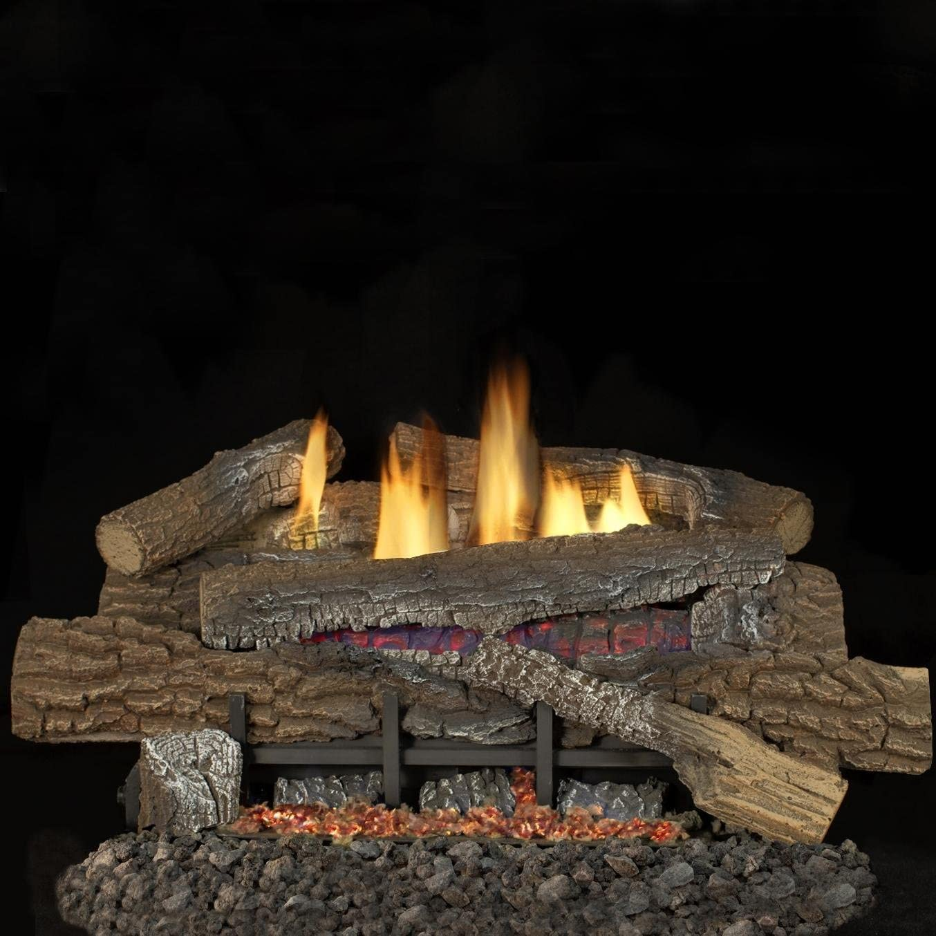 Superior Fireplaces 24-Inch Boulder Mountain Gas Log Set with Vent-Free Natural Gas Glow Ramp Burner - Electronic Ignition w/Thermostatic Remote