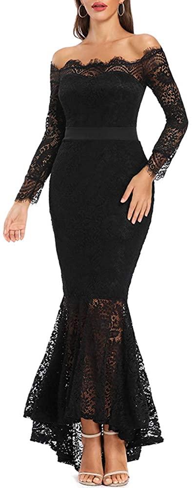 LALAGEN Women's Floral Lace Long Sleeve Off Shoulder Wedding Mermaid Dress