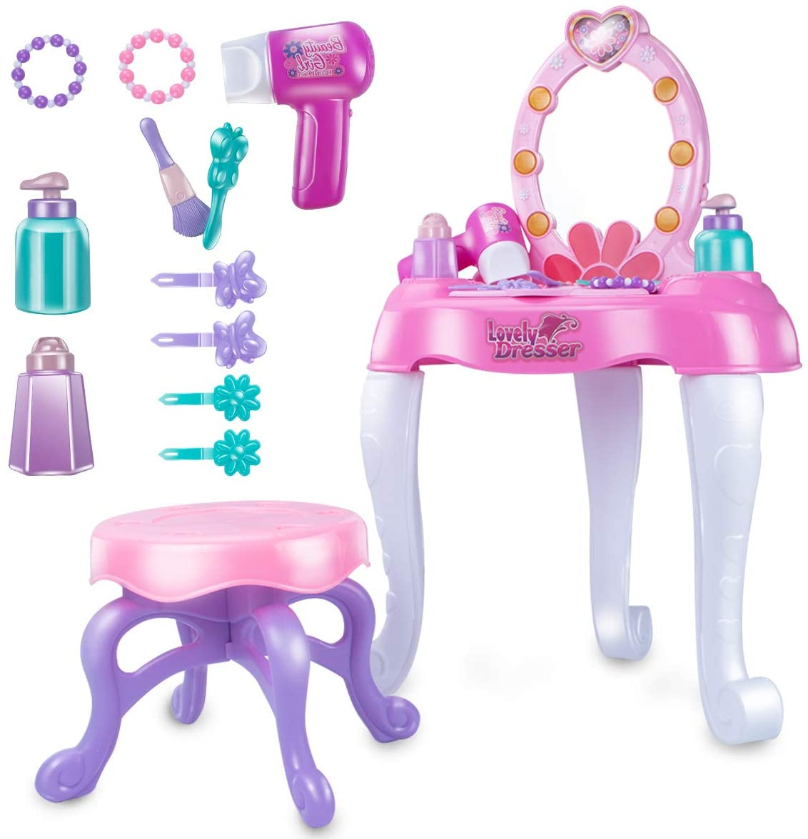 UNIH Girls Vanity Table Toy to Pretend Makeup with Mirror Chair Set for Toddler Kids Little Girls Pink Makeup Kits Toys for 2 3 4 5 Year Old Girl