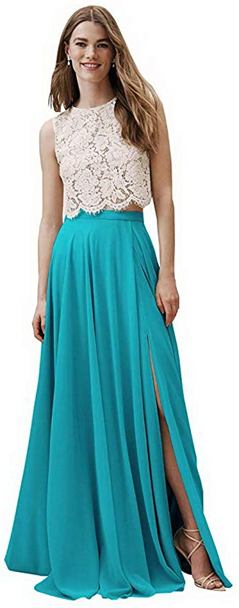 Two Piece Long Lace Bodice Bridesmaid Dress Chiffon Slit Wedding Formal Party Gown for Women