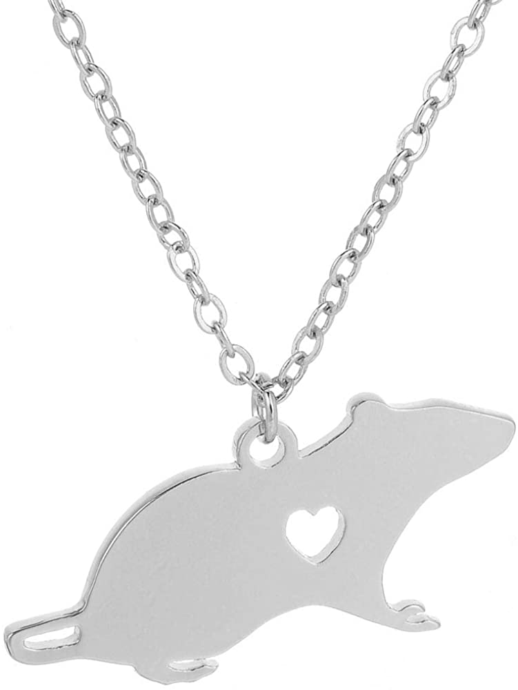NOUMANDA Fashion Cute Mouse Engraved Heart Pendant Necklace Simple Animal Copper Jewelry