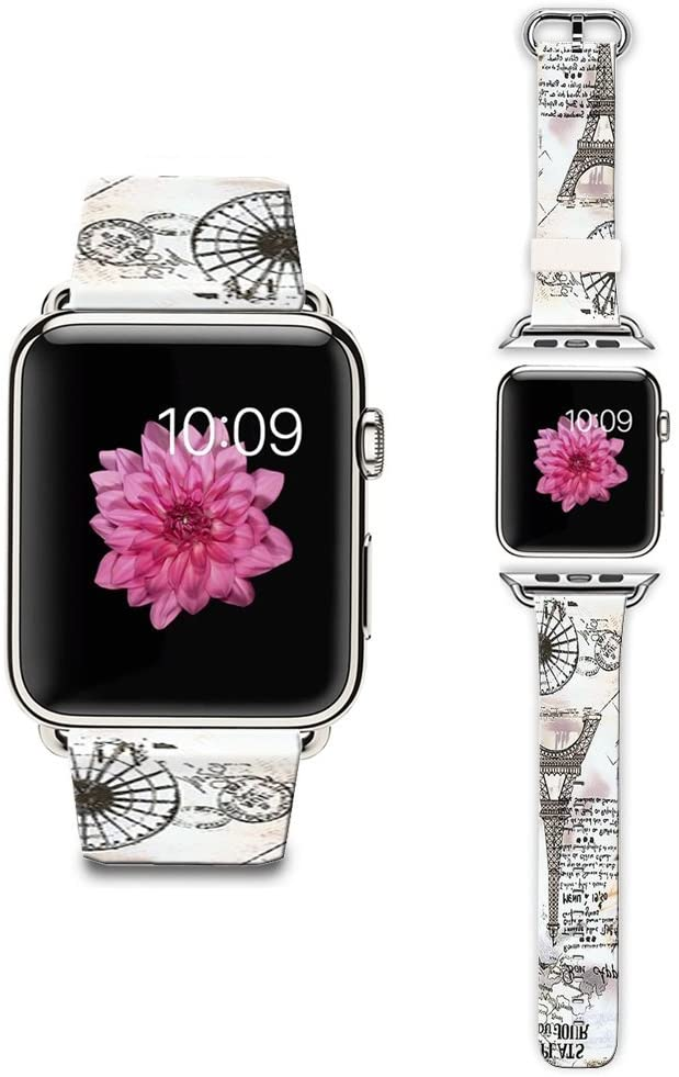 LAACO Band Compatible for Apple Watch 42mm 44mm, Floral Leather Replacement Strap for iWatch 42mm Series 5/4/3/2/1, Sports & Edition Eiffel Tower Postcards