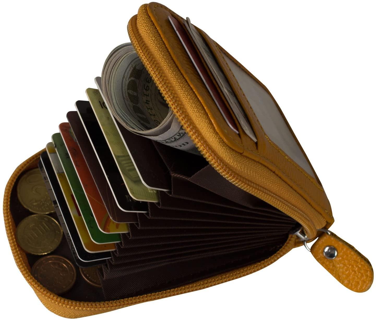 Noedy RFID Blocking Credit Card Case Organizer Genuine Leather Zip-Around Security Wallet Yellow