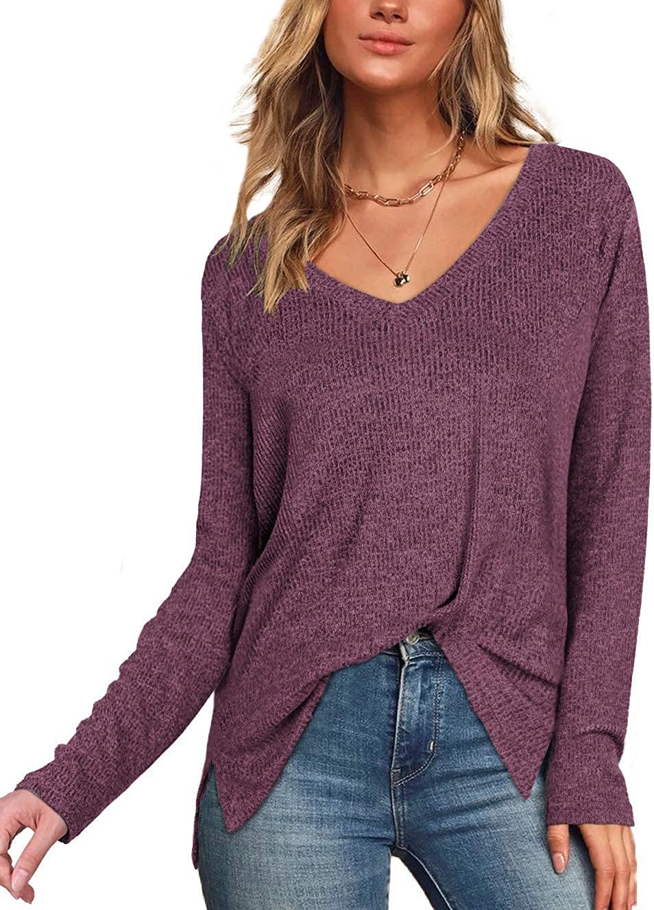 Women's Fall Sweater Long Sleeve V Neck Casual Tops Sweaterhirts
