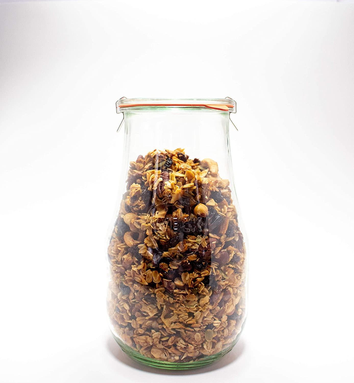Weck Jars - Weck Tulip Jars 2.5 Liter - Sour Dough Starter Jars - Large Glass Jars for Sourdough - Starter Jar with Glass Lid - Tulip Jar with Wide Mouth - Suitable for Canning and Storage - 1 Jar