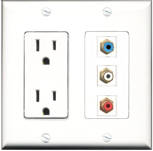 RiteAV - 15 Amp Power Outlet 1 Port RCA Red 1 Port RCA White 1 Port RCA Blue Decorative Wall Plate
