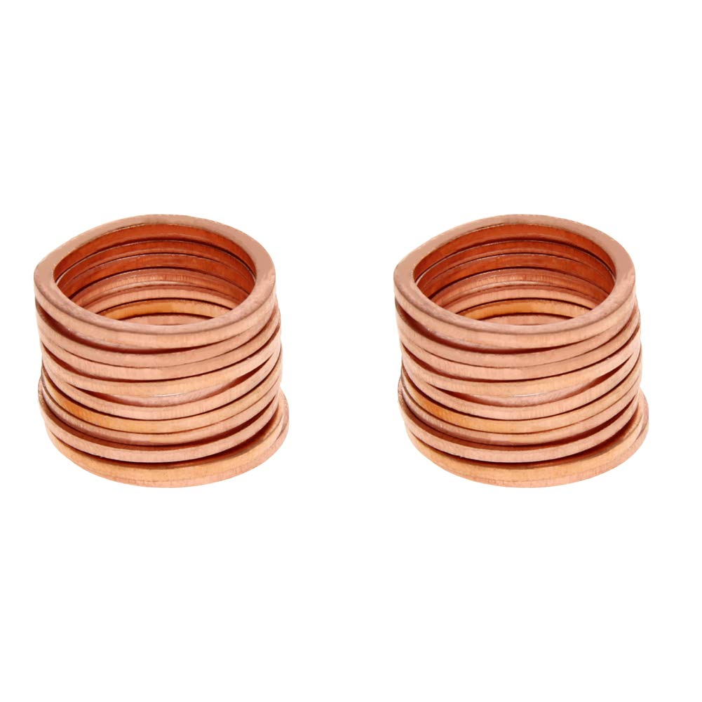 MroMax 50PCS Copper Flat M18 Round Ring 22mm OD 18mm ID 1.5mm Thick Washer Oil Brake Line Seal