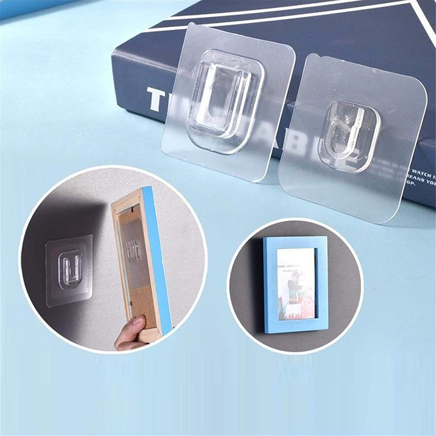 Wall Hangers Without Nails Adhesive Wall Hooks for Hanging Double-Sided Transparent No Damage Wall Hangers Hooks