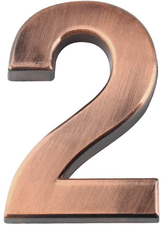 Larcele 1.96inch/50mm Self-Stick Modern House Number ABS Address Numbers Bronze Mailbox Number 3 Pieces MPH-03(No.2)