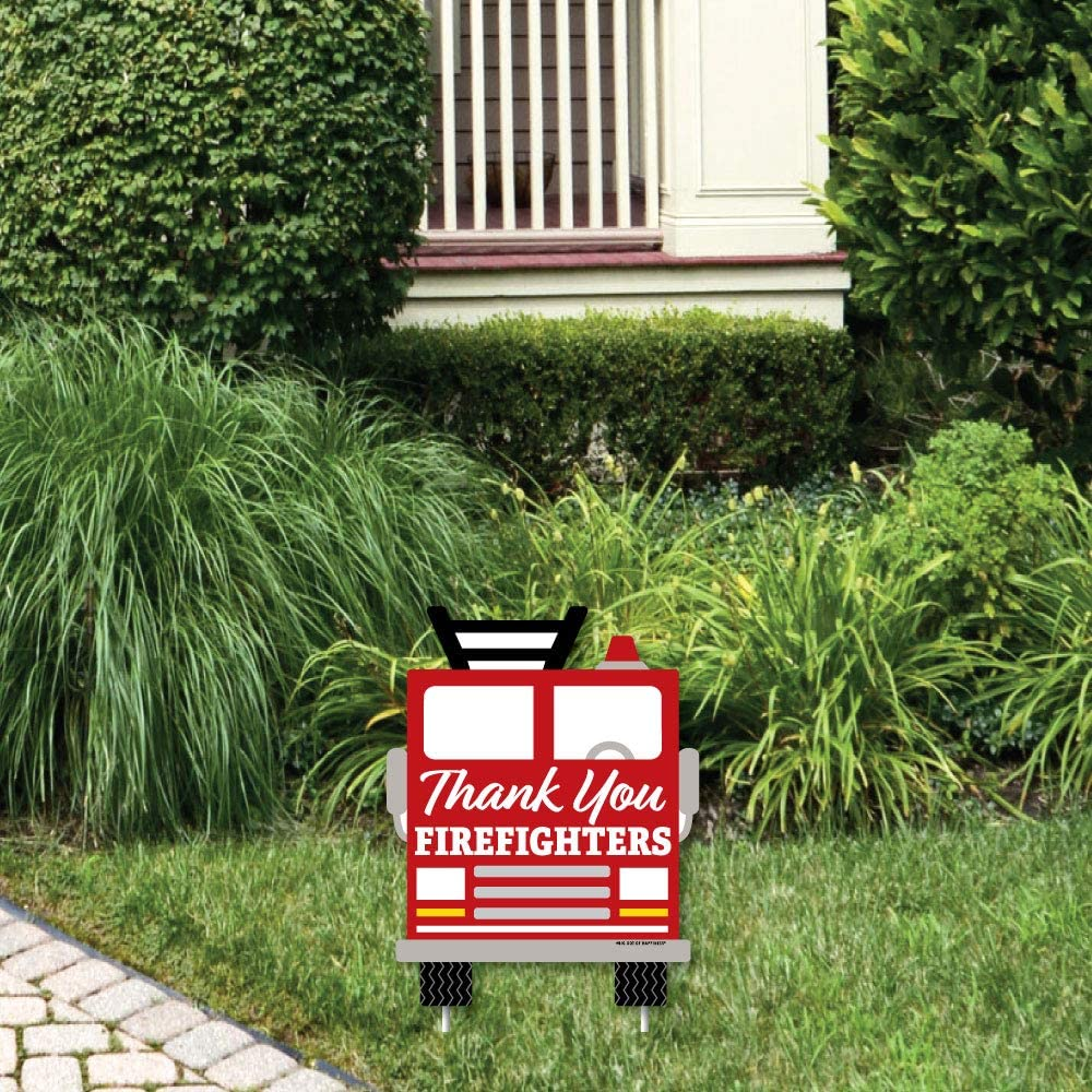 Big Dot of Happiness Thank YouFirefighters - Outdoor Lawn Sign - First Responders Appreciation Yard Sign - 1 Piece