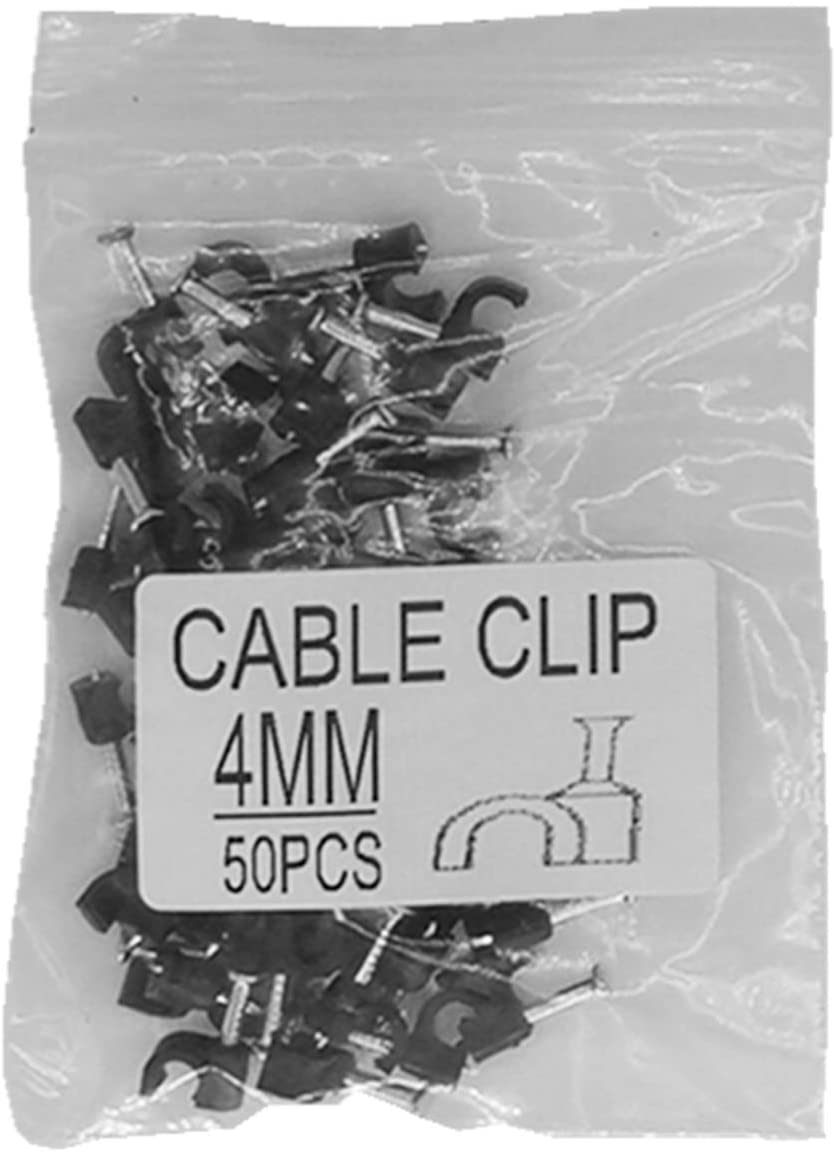 mazuu Black Round Cable Clamps with Steel Nails,(Pack of 50) (4MM)