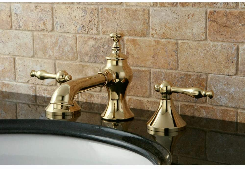 Kingston Brass Nuovo Lever Widespread Bathroom Faucet Polished brass Brass Finish