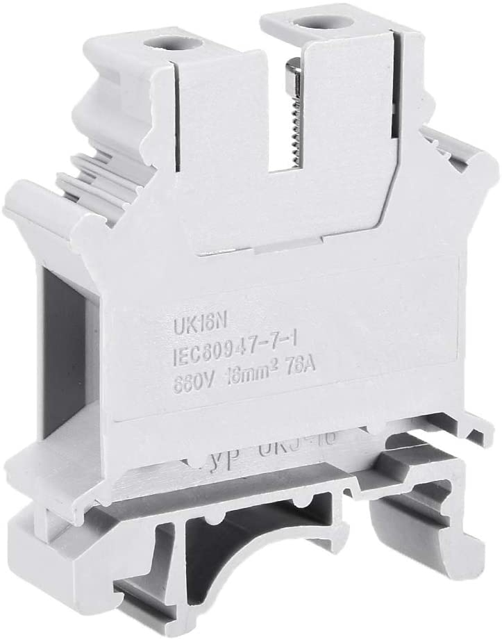 uxcell UK16N DIN Rail Terminal Block Screw Clamp Connector, 660V 76A Gray for 22-4 AWG, 30 Pcs
