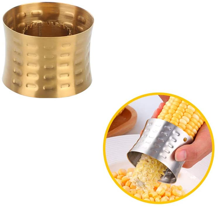 Corn Stripper, Stripping Tool Stainless Steel, Interlocking Design for Safety &Storage - Perfect for Salads, BBQ (gold)