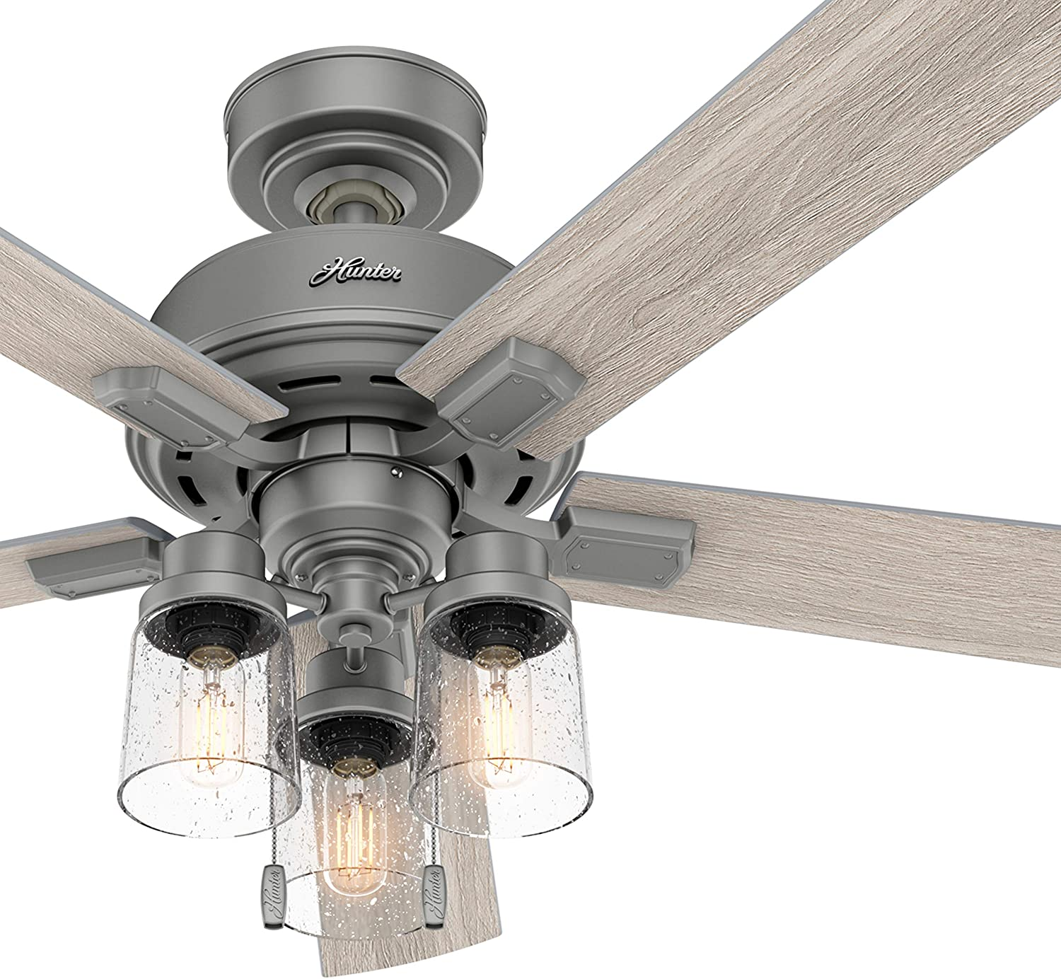 Hunter Fan 52 inch Casual Matte Silver Indoor Ceiling Fan with Light Kit and Pull Chain (Renewed)