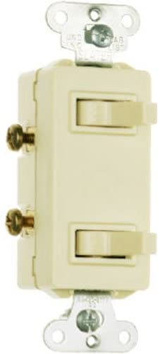 Legrand-Pass & Seymour 680IGCC6 Combo Decorator with Two Single Pole Switches 15-Amp 120-volt/277-volt, Ivory