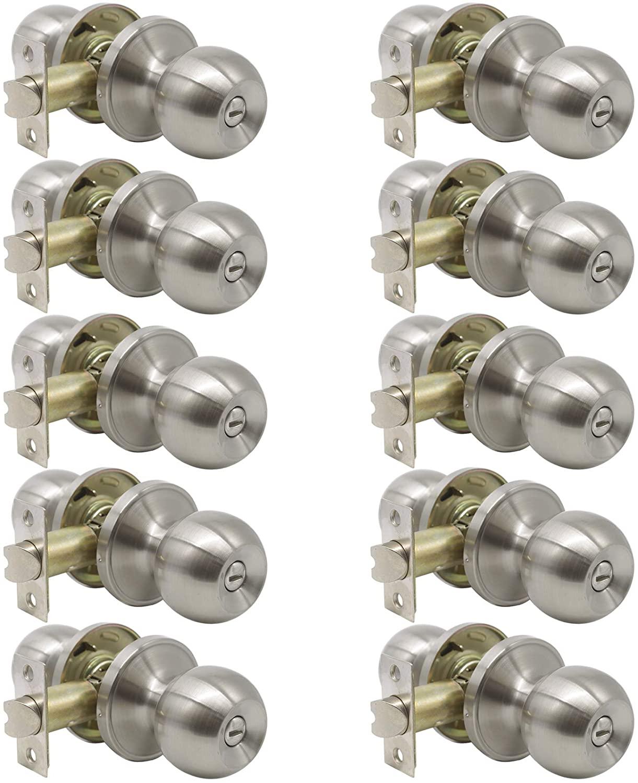 10 Pack Bedroom Bathroom Door Knobs Handles Satin Nickel Finish-Keyless Privay Function Interior Door Knob Locks, Reversible Door Handle Set Wholesale-Round Shape
