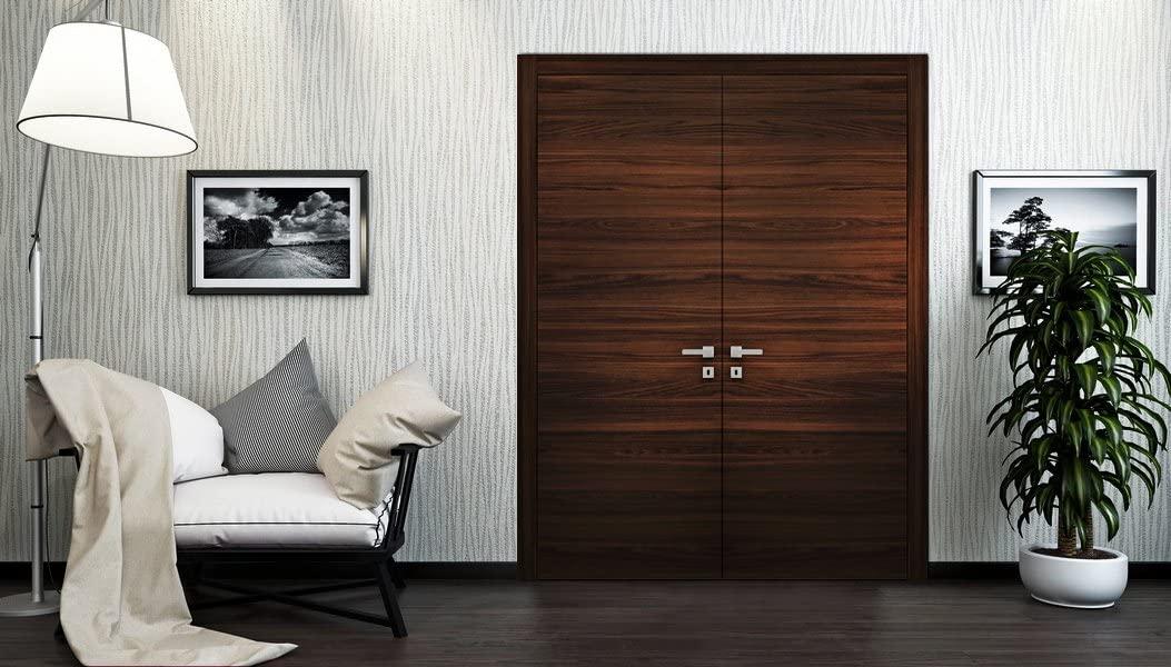 Planum 0010 Interior Double Door Chocolate Ash With Handles, Lock, Hinges (60