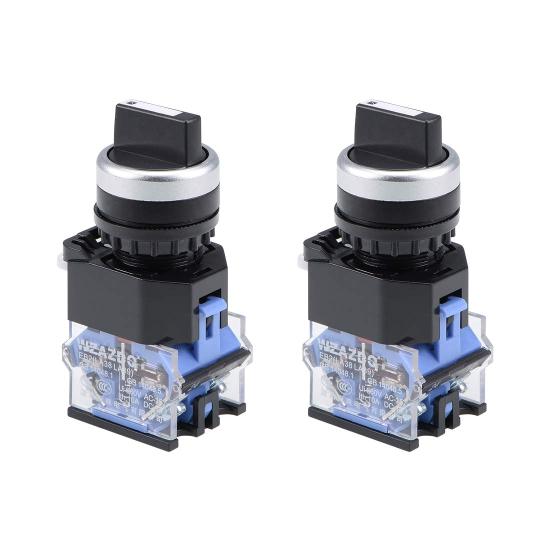 uxcell Rotary Selector Switch 2 Positions 2NC Momentary AC 660V 10A 22mm Panel Mount Set of 2