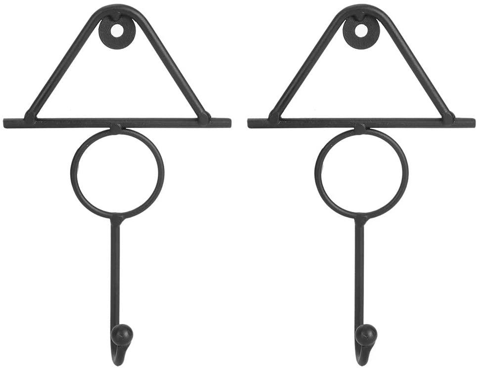 Delaman Coat Hooks, 2pcs Coat Hooks Wall Mounted Clothes Hooks Household Accessories for Hanging Scarf Bag Towel Key Hat Dress Shop Display Decor(Black)