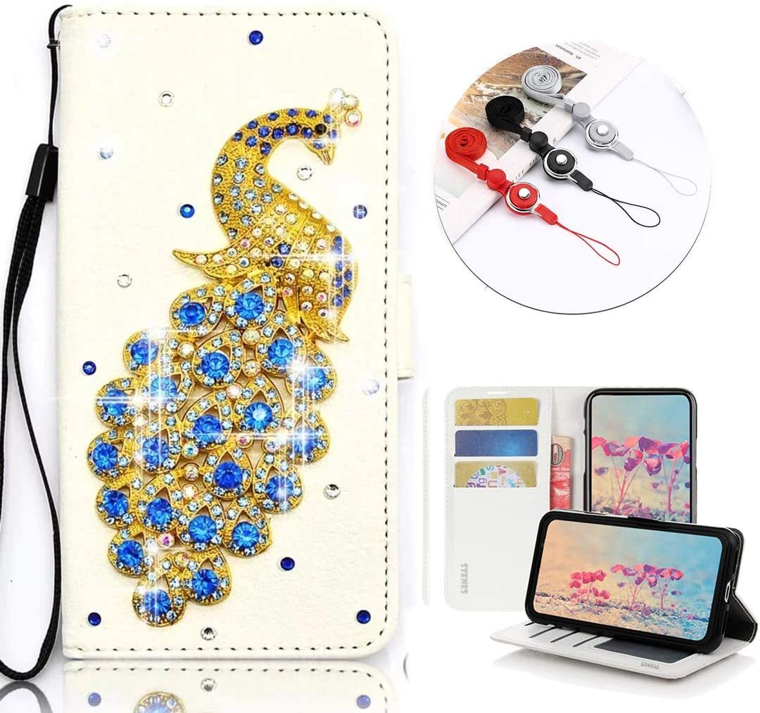 STENES Bling Wallet Phone Case Compatible with Moto G Stylus - Stylish - 3D Handmade Peacock Design Leather Cover with Neck Strap Lanyard [3 Pack] - Blue
