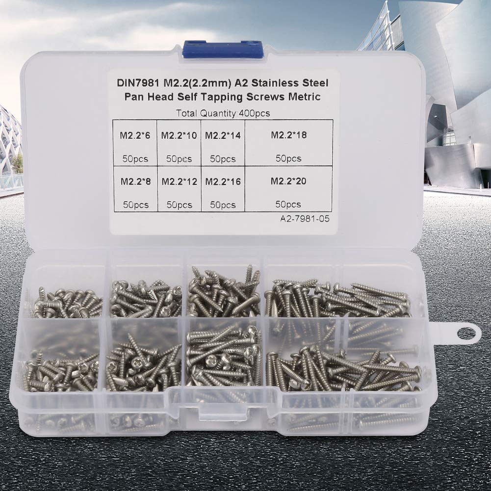 400pcs Self Tapping Screws, M2.2 Stainless Steel High Strength Self Tapping Screws Assortment Kit, with Storage Box