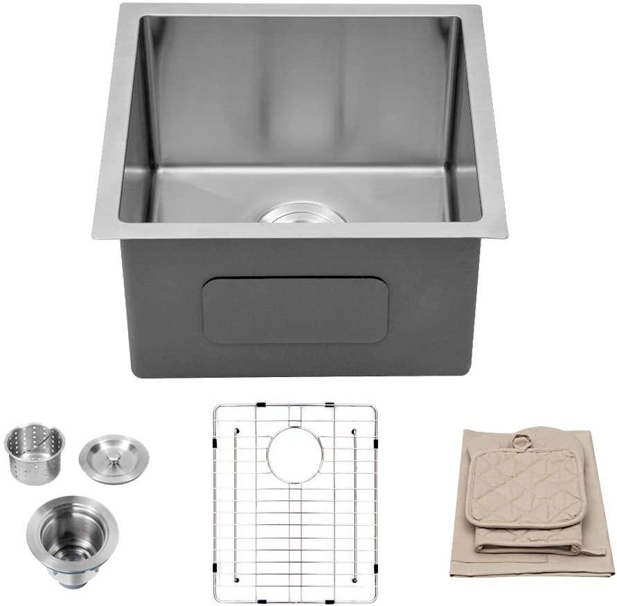 Bar Sink Undermount - Lordear 15 Inch Undermount Sink Bar Prep Sink Deep Single Bowl 16 Gauge R10 Tight Radius Stainless Steel Sink