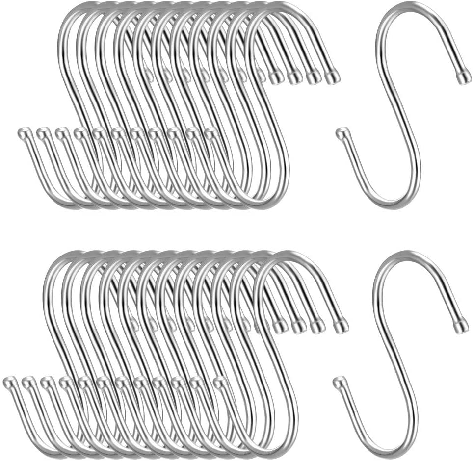 uxcell Metal S Hooks 3.15 inches S Shaped Hook Hangers for Kitchen Bathroom Bedroom Storage Room Office Outdoor Multiple Uses 25pcs