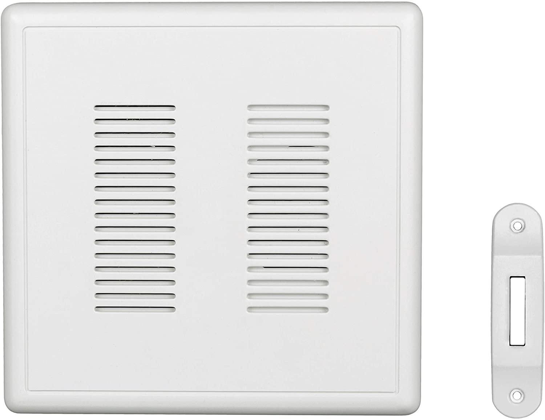 NICOR Lighting PRCP2DBWH PrimeChime Plus Door Chime Kit, White Deco Button