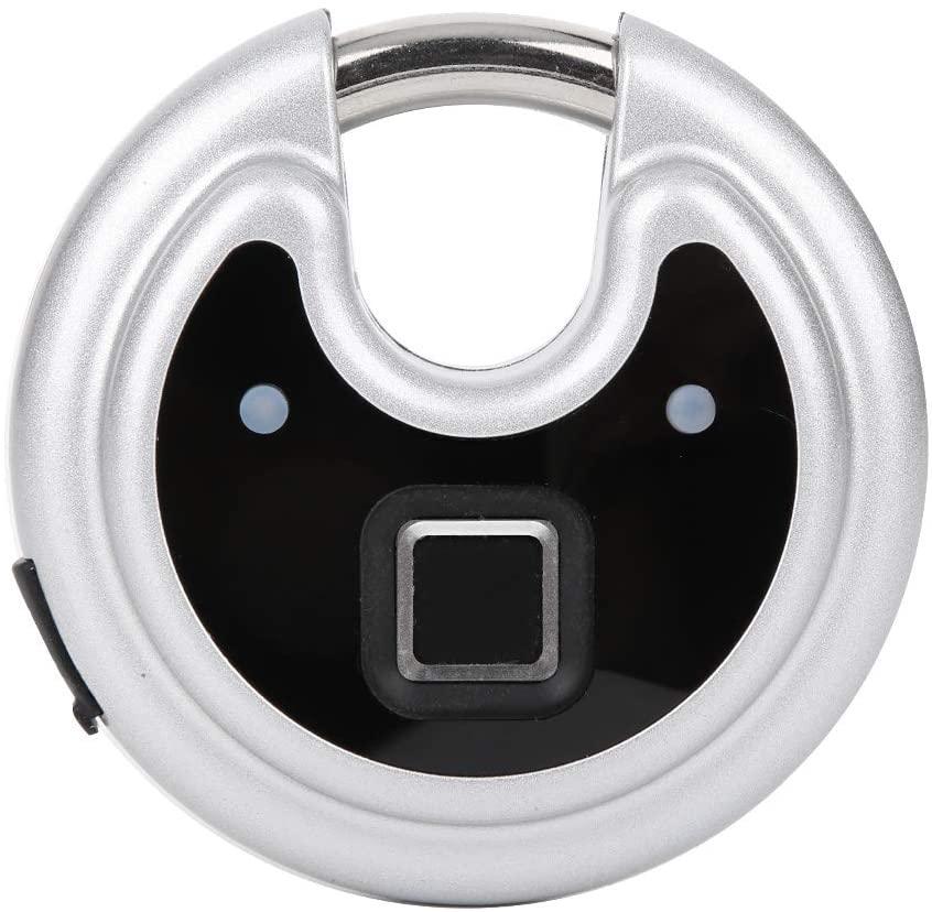 Hopcd Zinc Alloy Fingerprint Disc Padlock, USB Rechargeable Roundcake Shape Padlock, IP65 Waterproof Smart Keyless Fingerprint Security Padlock for Warehouse, Gate, Door, Cabinet, Drawer