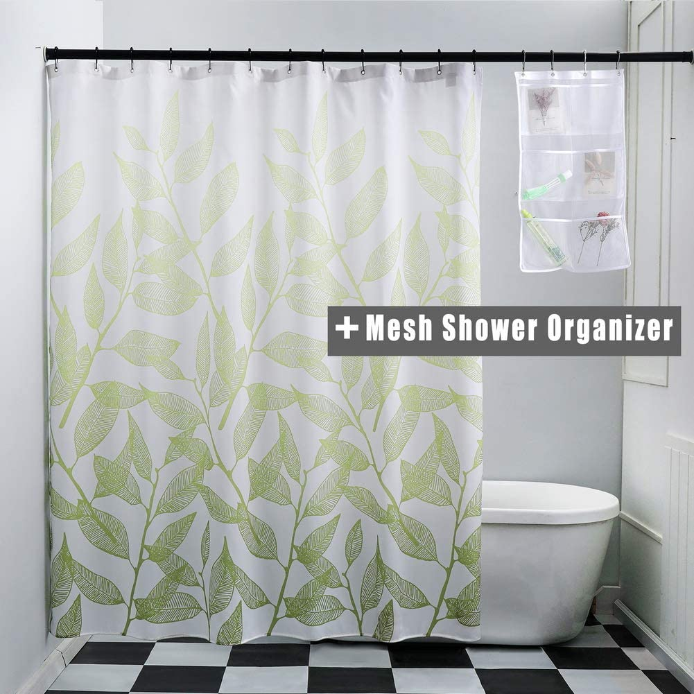WdFour Gradual Green Leaves Printing Fabric Shower Curtains for Bathroom with 6 Pockets Mesh Shower Organizer, Metal Grommets Machine Washable Water Repellent Standard Shower Curtain, 72 x 72, Green