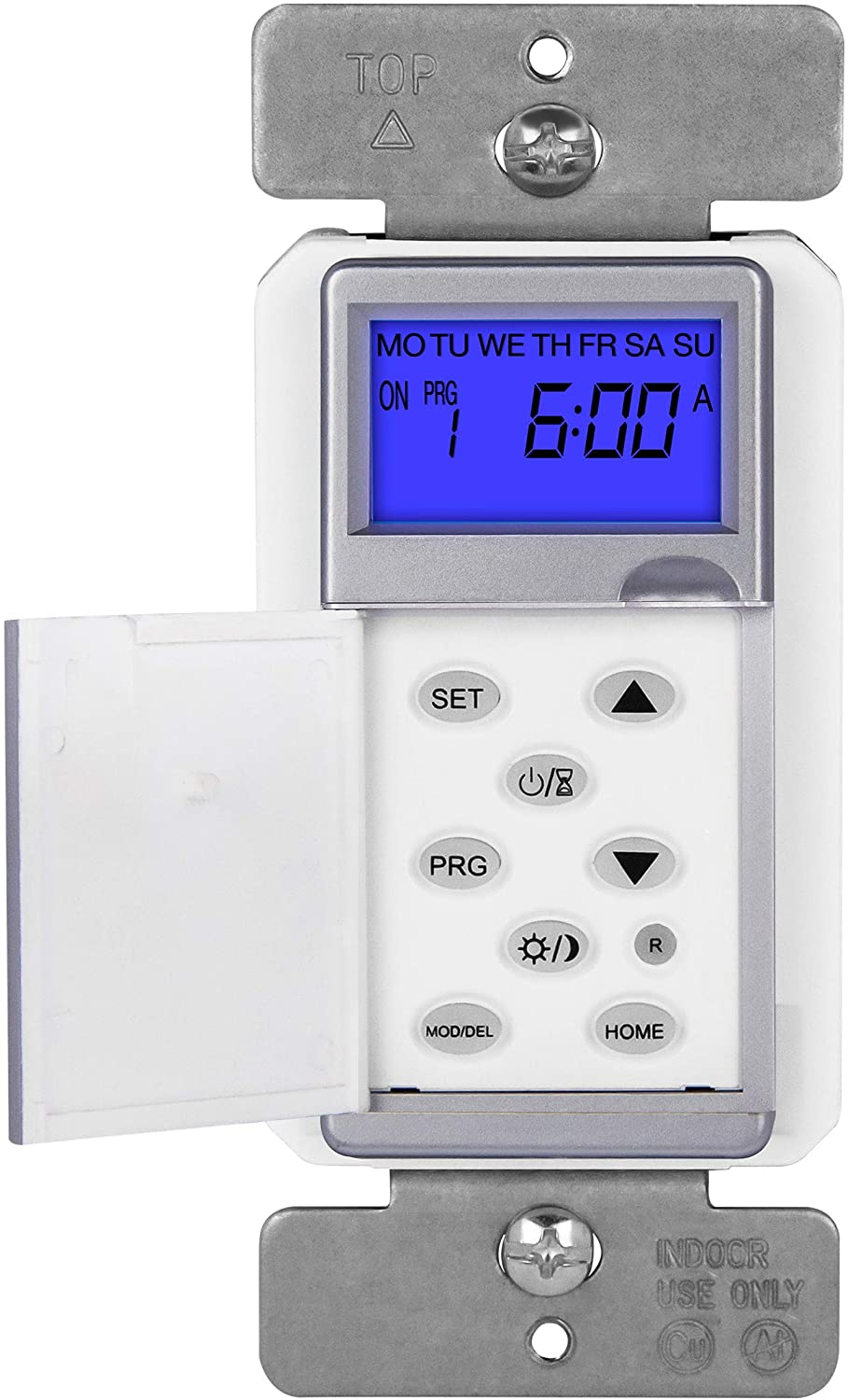 TOPGREENER TGT01-H-SV Digital Switch, Astronomic in-Wall 7-Day Programmable Sunrise Sunset, Timer with Solar Time Table, Dusk to Dawn, Neutral Wire Required, Silver
