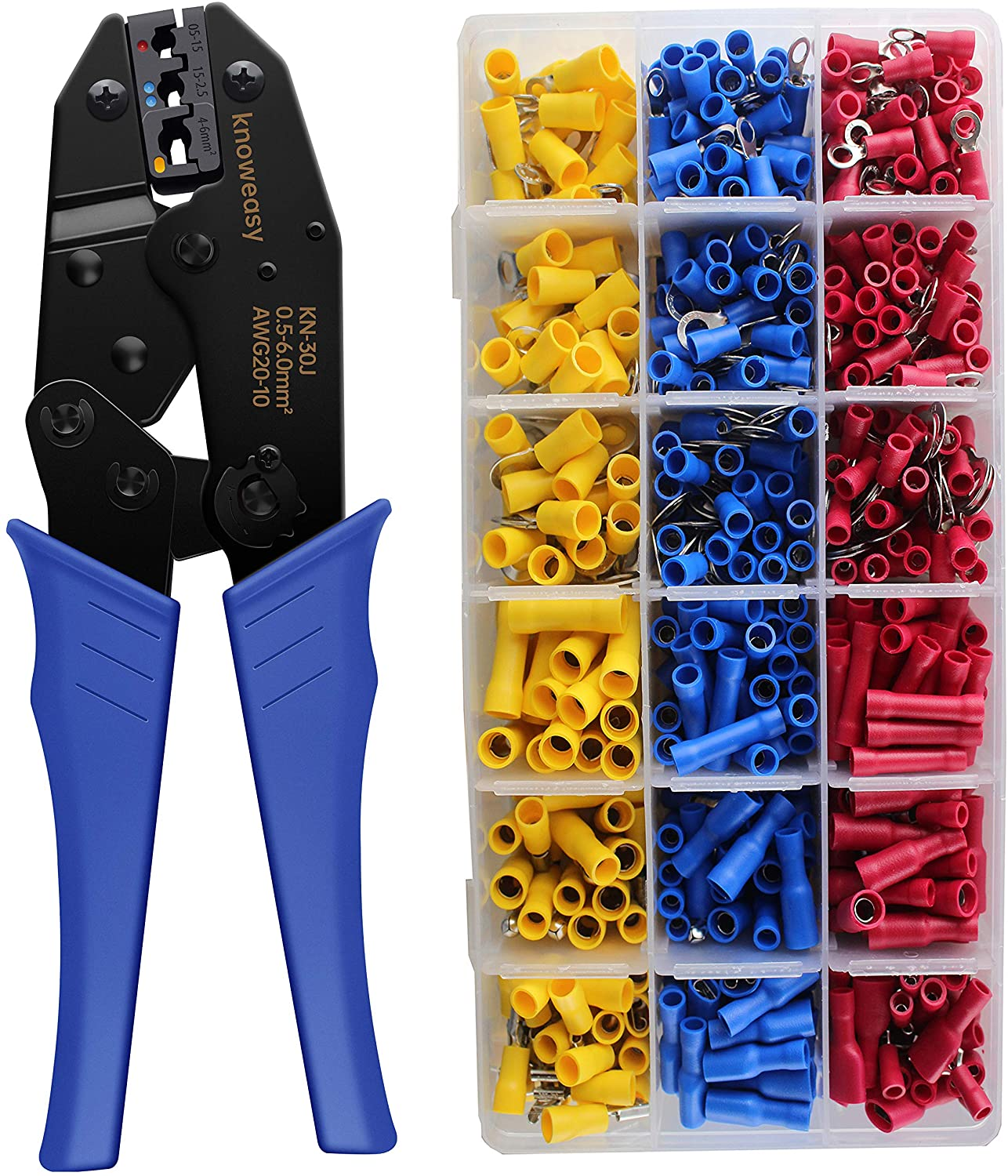 Wire Terminals Crimper Kit, Knoweasy Insulated Ratcheting Terminals Crimper Set of AWG22-10 with 700PCS of Insulated Butt Bullet Spade Fork Ring Crimp Terminals Connectors