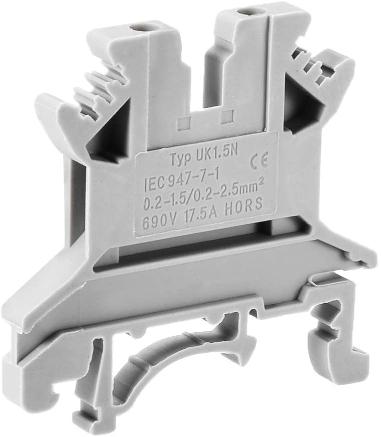 uxcell UK-1.5N DIN Rail Terminal Block Screw Clamp Connector, 690V 17.5A Gray for 24-16 AWG, 25 Pcs