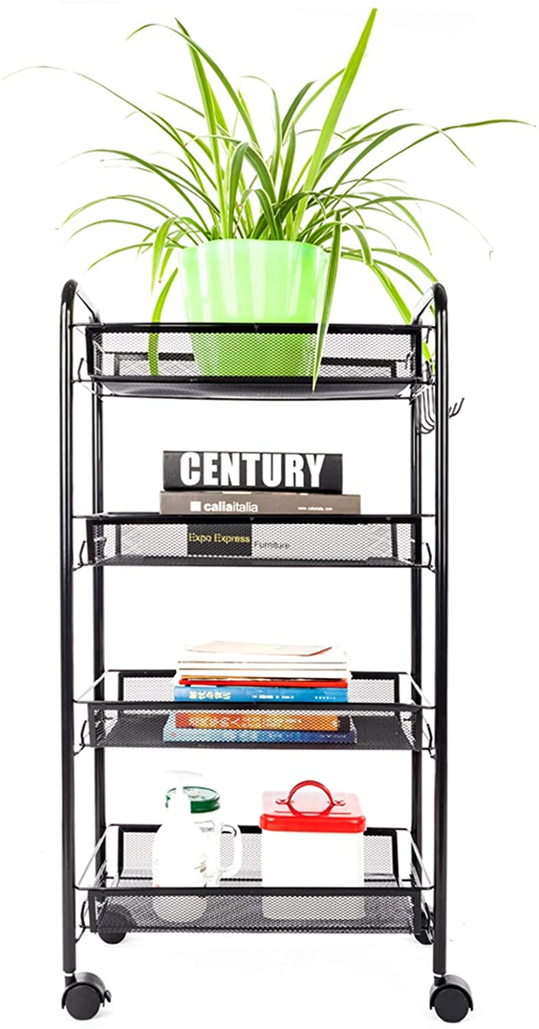 LeafRed C Exquisite Honeycomb Net Four Tiers Storage Cart with Hook Black Shelves, Space Saver for Home, Office