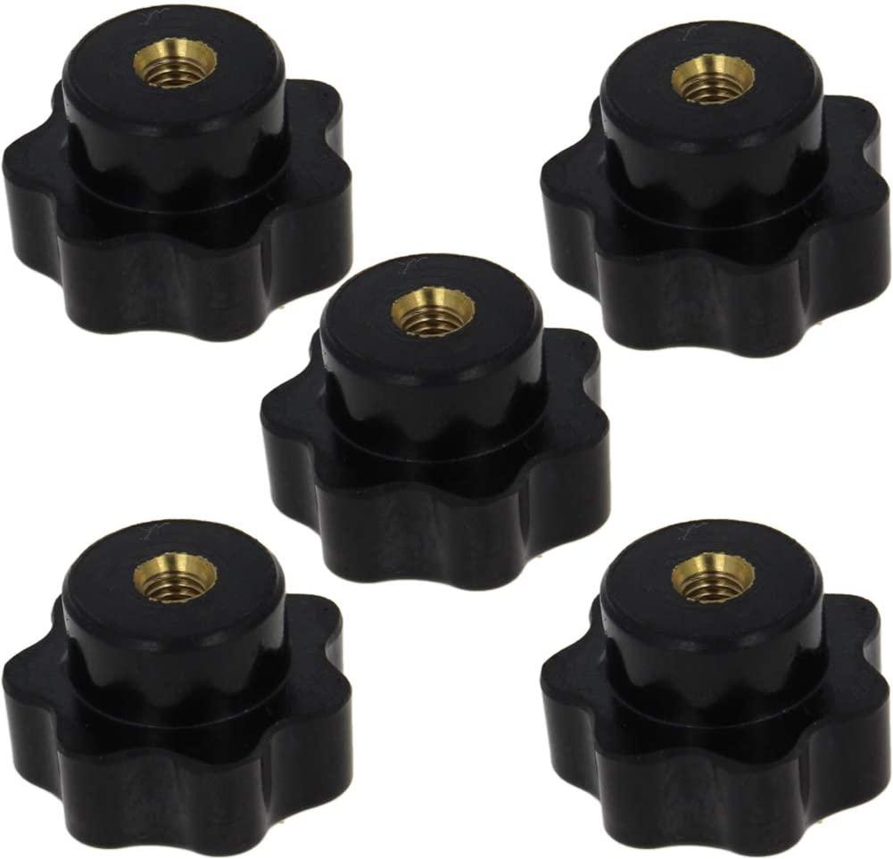 Othmro CM6 Female Thread Star Clamping Knob 32mm Head Diameter Star Torx Clamping Knob Black 5pcs