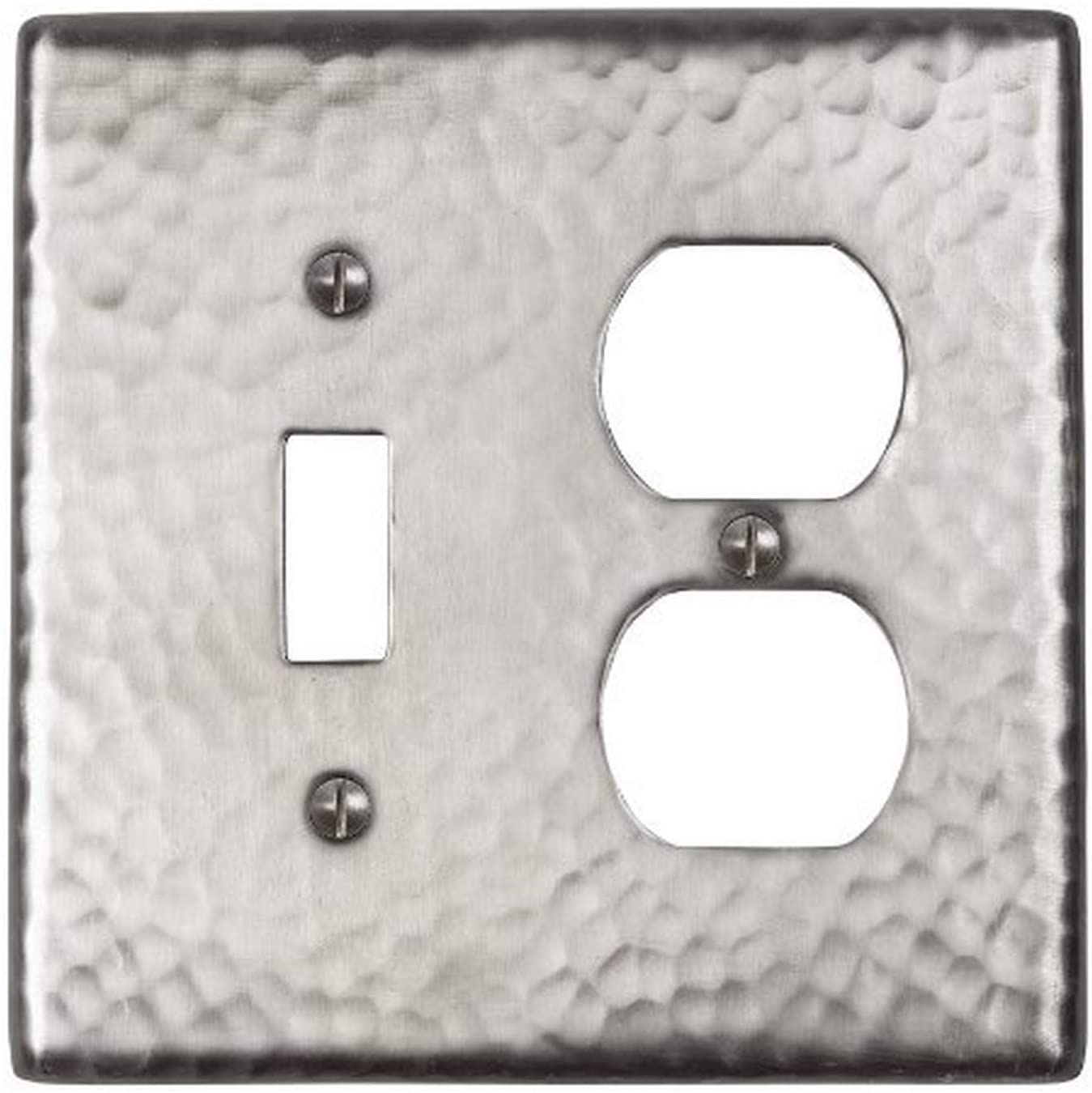 The Copper Factory CF126SN Solid Hammered Copper Single Switch and Duplex Receptacle Combination Plate, Satin Nickel Finish