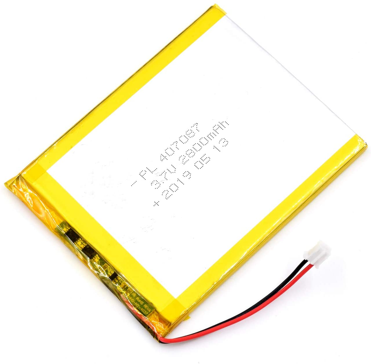 AKZYTUE 3.7V 2800mAh 407087 Lipo Battery Rechargeable Lithium Polymer ion Battery Pack with JST Connector