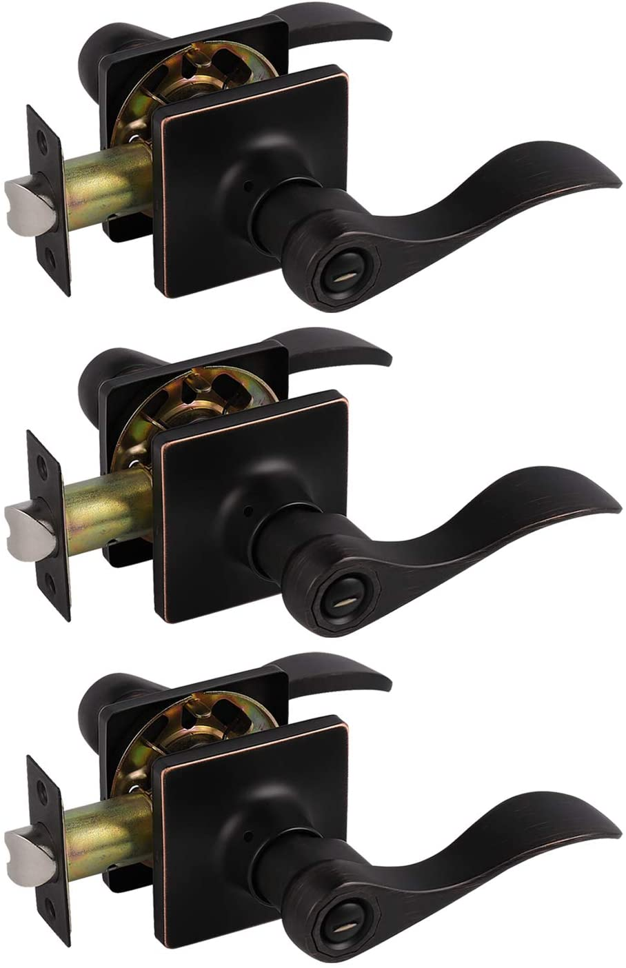 Probrico Universal Wave Style Levers Door Handles Privacy Locks for Bedroom and Bath, Reversible Right/Left Handing Keyless Oil Rubbed Bronze Hardware with Square Rosette, 3 Pack