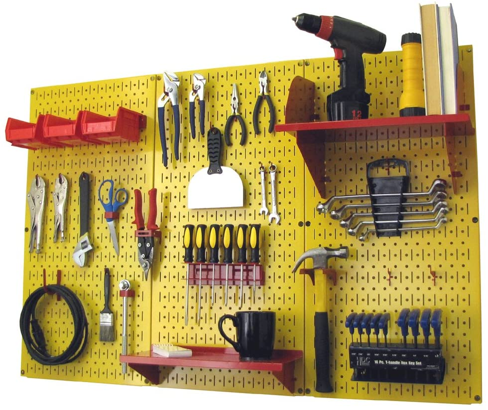 Pegboard Organizer Wall Control 4 ft. Metal Pegboard Standard Tool Storage Kit with Yellow Toolboard and Red Accessories