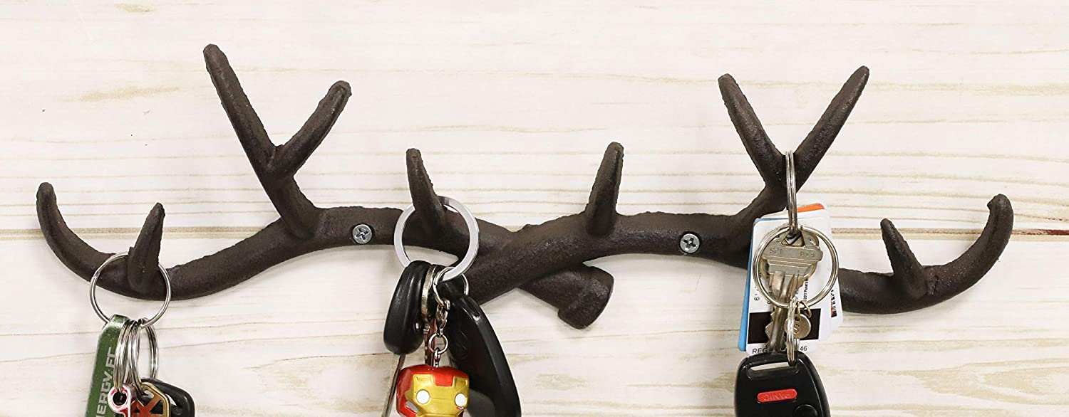 Ebros Rustic Hunter's 10 Point Stag Deer Antlers Rack Wall Plaque 14.5