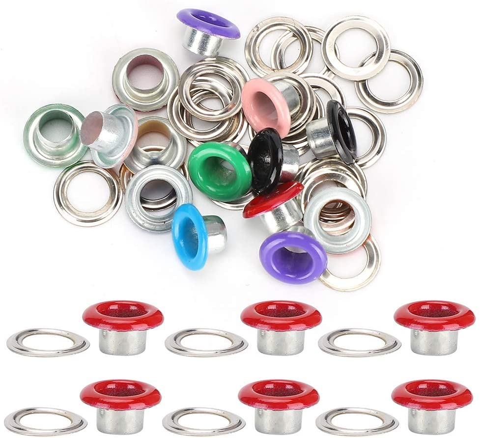 Fdit 500 Set Colorful Metal Grommets Kit,Shoe Eyelets Grommet Button Rivet Tool for Shoes Leather Bags DIY Craft(6mm)