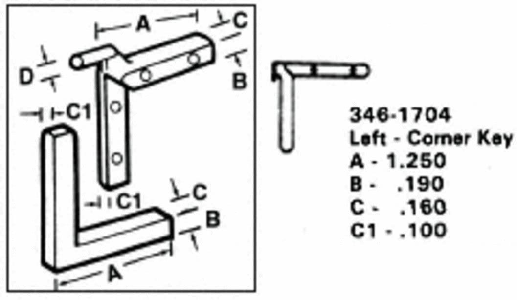 CRL Left Nylon Corner Key - 1.250