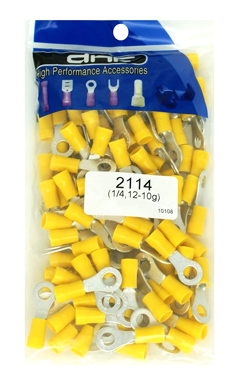 DNF 200 Pack Copper 12-10 Gauge Yellow Ring Terminals Electrical Wire Connectors 1/4